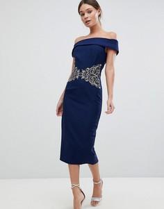 Платье с открытыми плечами и вышивкой на талии Little Mistress - Синий