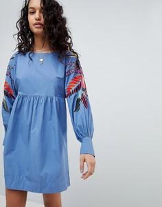 Платье мини с цветочным принтом Free People - Синий
