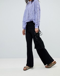 Широкие кружевные брюки с завышенной талией Free People - Черный