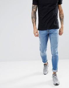 Выбеленные джинсы скинни Hoxton Denim - Синий