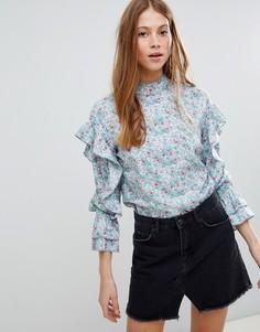 Блузка с цветочным принтом и высоким воротом Influence - Синий