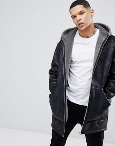 Черная oversize-куртка из искусственной овчины с капюшоном River Island - Черный