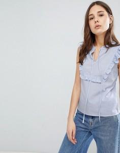 Блузка в полоску с оборками Glamorous - Синий