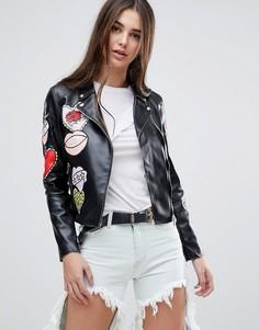Байкерская куртка из искусственной кожи Glamorous - Черный