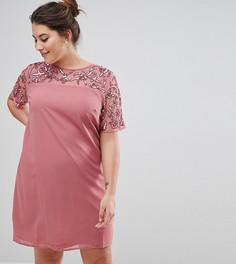 Декорированное цельнокройное платье Lovedrobe Luxe - Розовый