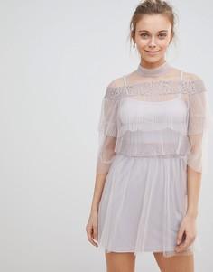 Сетчатое платье с оборкой Glamorous - Фиолетовый