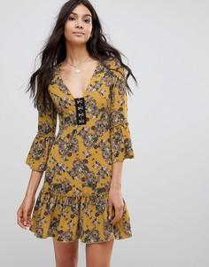 Платье с цветочным принтом Parisian - Желтый