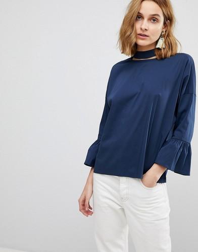 Блузка с оборками на рукавах и лентой вокруг шеи Resume Aure - Темно-синий