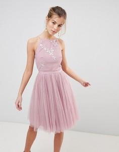 Платье для выпускного с отделкой бусинами на лифе и сетчатой юбкой Little Mistress - Розовый