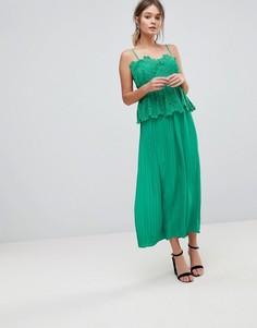 Платье-комбинация миди с кружевным топом и плиссированной юбкой Liquorish - Зеленый