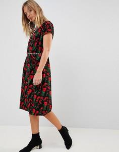 Платье-футляр с цветочным принтом Trollied Dolly - Черный