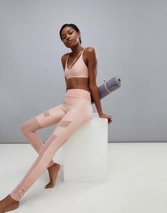 Розовые леггинсы с сетчатыми вставками Puma Dance - Розовый