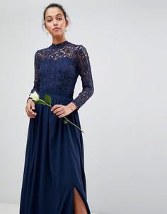 Кружевное платье макси с длинными рукавами Club L - Темно-синий