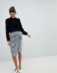 Юбка с запахом и бантом Closet - Серый