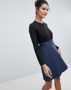 Короткое приталенное платье Closet - Синий