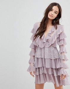 Короткое приталенное платье с оборками Glamorous - Фиолетовый