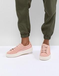 Замшевые кроссовки на платформе Puma - Розовый