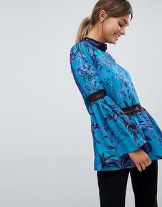 Блузка с высоким воротом и цветочным принтом Closet - Синий