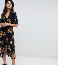 Платье миди на пуговицах с рукавами-кимоно и цветочным принтом Influence Tall - Черный
