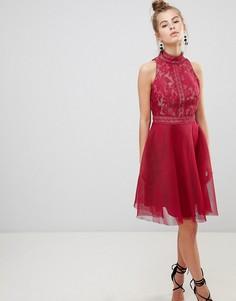 Платье для выпускного с высоким воротом Little Mistress - Розовый