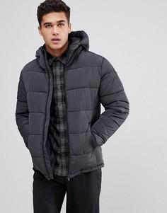 Темно-синяя дутая куртка с капюшоном Celio - Серый