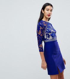 Короткое приталенное платье с рукавами 3/4 и кружевом Little Mistress Tall - Синий