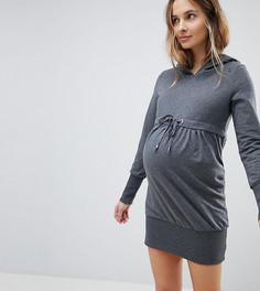 Платье-свитшот с капюшоном и длинными рукавами Mama.licious - Серый