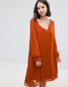 Платье с завязками на рукавах Soaked In Luxury - Оранжевый