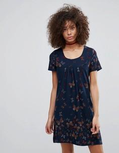 Платье с принтом бабочек QED London - Темно-синий