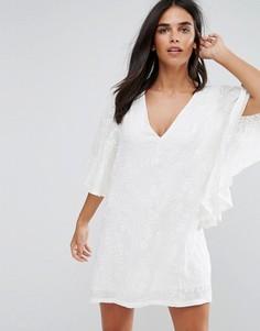 Платье-кимоно с V-образным вырезом Traffic People - Белый