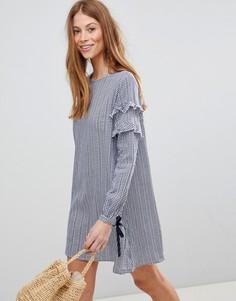 Свободное платье в клеточку QED London - Темно-синий