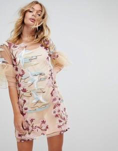 Свободное платье с вышивкой и оборками на рукавах Rd & Koko - Мульти