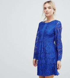 Кружевное короткое приталенное платье Uttam Boutique Petite - Синий
