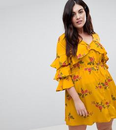 Платье с цветочным принтом Influence Plus - Желтый