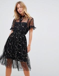 Платье с цветочной вышивкой Liquorish - Черный