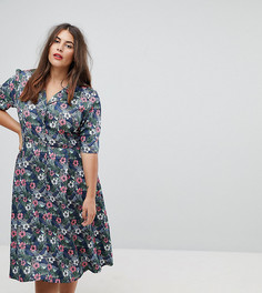 Платье на пуговицах с цветочным принтом Uttam Boutique Plus - Мульти