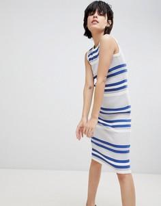 Трикотажное платье миди в рубчик с круглым вырезом Paisie - Мульти