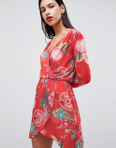 Платье с запахом и принтом Love - Мульти