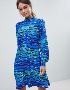 Свободное платье с высоким воротником и принтом Closet - Мульти