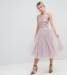 Платье из тюля с отделкой пайетками Little Mistress Petite - Бежевый