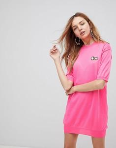 Вязаное платье с вышивкой Love Moschino - Розовый