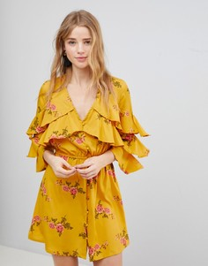 Платье с цветочным принтом и оборками Influence - Желтый