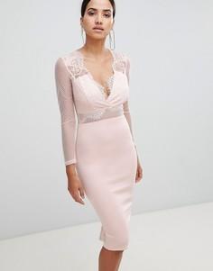 Облегающее платье миди с длинными рукавами Ax Paris - Розовый