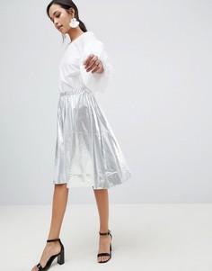 Серебристая короткая расклешенная юбка из искусственной кожи Vila - Серебряный