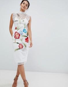 Платье миди с цветочной вышивкой Hope & Ivy - Белый