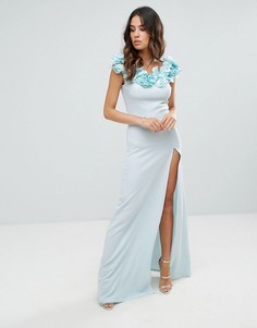Креповое платье макси с цветочной отделкой Club L - Синий