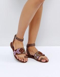 Сандалии на плоской подошве с вышивкой Freepeople - Фиолетовый