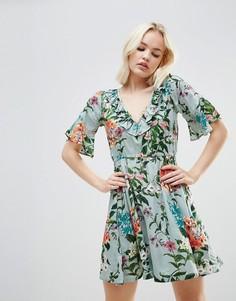 Платье с цветочным принтом и оборками Rock & Religion - Зеленый