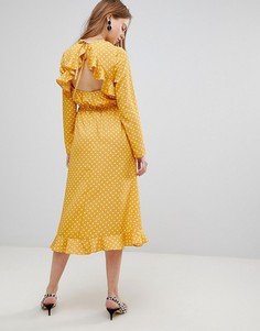 Платье миди в горошек Influence - Желтый