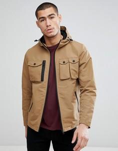 Куртка Харрингтон с капюшоном и 4 карманами Brave Soul - Светло-бежевый